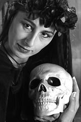 To death do us part (Wilamoyo) Tags: peopleportrait woman beauty female witch skull bones head twins two duo portrait feminine face black white mono monochrome closeup
