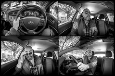 Car and me and the car. (CWhatPhotos) Tags: cwhatphotos mono monochromebw black white portrait inside art artisrtic self selfie olympus penf m zuiko 8mm prime lens f18 four thirds wide angle fisheye fish eye view digital camera photographs photograph pics pictures pic picture image images foto fotos photography artistic that have which with contain artistc light auto automobile car hyundai i20 12se 12 se vehicle 2017 new brand man male driver driving interior goatee shades flickr