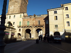 Vicenza - Historic Italian city - February 2019 (sean and nina) Tags: vicenza city italy italian italia eu europe european architecture building old ancient historic historical history tower plaques art artwork public candid street stone monument statue clock blue sky feb february 2019 signs pedestrian area down town centre road green grass park water rivers canal bridge flags trees