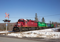 Cranberry SD40 in Snow - St. Croix, NB (CWentzell Photography) Tags: nbsr newbrunswick southern railroad rail rails freight train track mattawamkeag sub subdivision sunny blue sky snow january 2019 canon photography landscape sd40 sd402 motivepower locomotive locomotives engine engines mcadam maine canada adobe adobelightroom