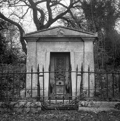 Mausoleum of Emanuel Cooper (StuMcP) Tags: mausoleum iso50 yashicamat124g norwich cemetery rosary dissenters stuartmcpherson film mono ilford
