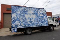blue girl (Luna Park) Tags: melbourne vic australia streetart girl woman face lunapark truck blue