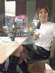 Sure we can go to the club after dinner, but I need to change for something shorter (julie.neuweibchen) Tags: crossdresser julieneuweibchen leatherskirt boots restaurant public