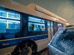 Under a Shelter (Brian D' Rozario) Tags: brian19869 briandrozario nikon d750 snow snowday snowfall precipitation weather climate winter nyc ny newyork newyorkcity city urban transport bus transportation shelter night citylife busy busylife citylight buses vehicle