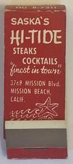 SASKA'S HI-TIDE MISSION BEACH CALIF (ussiwojima) Tags: saskashitide bar cocktail lounge sanfrancisco california advertising matchbook matchcover