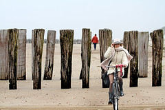 lost 2 (Henk Overbeeke Atelier54) Tags: girl candid photoshop zeeland beach bike bicycle fahrrad fiets nylons boots