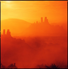 corfe castles (steve-jack) Tags: hasselblad 501cm lomography redscale double exposure film 120 6x6 medium format corfe castle dorset mist red tetenal c41 epson v500 80mm cb