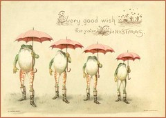 Every good wish for your Christmas. Victorian greetings card (mpt.1607) Tags: card hobby pastime victorian chromo lithograph scrap image christmas valentine birthday frog toad umbrella rain hagelberg