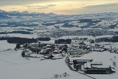 panoramic view on Hoherain & Hochdorf on a winter day Switzerland (roli_b) Tags: winter day hochdorf hohenrain seetal luzern aerial view luftaufnahme schnee snow panorama panoramic dji mavic pro drohne drone sunset afternoon switzerland schweiz suiss suiza sivzzera 2019