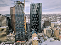 The View North (Susan.Johnston) Tags: teampixel hyatt telussky calgarytower view centrestreetnorth calgary downtown alberta plus15 bowriver centrestreetbridge thebow architecture