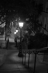 2017 Septembre - Paris.199 (hubert_lan562) Tags: paris montmartre soir nuit night escalier black monochrome light reverbere 75 france seul