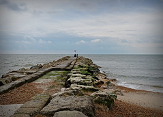 The Fisherman... (Harleynik Rides Again.) Tags: hengisburyhead beach jetty breakwater fisherman sea sky dorset nikondf harleynikridesagain explore inexplore