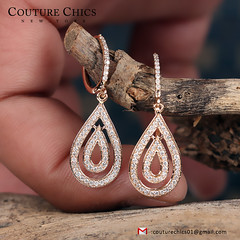 Natural 0.48Ct Pave Diamond Dangle Earrings Solid 18k Rose Gold Handmade Jewelry (couturechics.facebook1) Tags: natural 048ct pave diamond dangle earrings solid 18k rose gold handmade jewelry