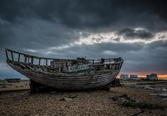 High tide (James Waghorn) Tags: wreck topazclarity railway beach nikon dungeness derelict d7100 net tamron1024f3545diiivchld pebbles boat winter kent sunset clouds england bleak moody gloomy