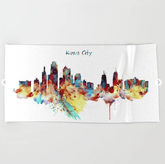 Kansas City Skyline Silhouette Beach Towel (marianv2014) Tags: kansascity missouri skyline skylines silhouettes citysilhouette watercolor skylineart skylinepainting aquarelle purple red yellow blue splatters splashes watercolorpainting watercolorskyline cityart citysymbols modernpainting americancities artgifts affordableart illustration artwork art colorful beautiful city landmark beach towels
