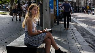 Amsterdam, Backlight/Short, Center, Gadgets, Hair, Netherlands, Street, Up Close and Personal, Waiting/Break, Wheels/Transport