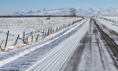 The Bern Road (walkerross42) Tags: snow bern idaho road fence mountains winter irrigation wheels bearlakevalley cold pentaxart