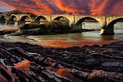 Furore (Zz manipulation) Tags: art ambrosioni acqua autunno arancio fiume rocce ponte scorrere corrente tramonto paesaggio