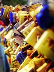 lots of locks (Mallybee) Tags: olympus mallybee locks bridge 25mm f17 lumix omd em10 mk2 padlock colourful m43 mirrorless yellow blue