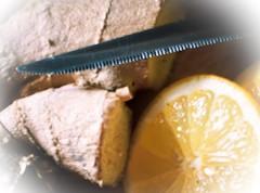 infusion of root ginger and lemon (quietpurplehaze07) Tags: brew lemon root ginger knife macromondays rootginger
