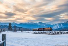 BNSF 4150 East at Crossport, ID (evanlofback) Tags: railroadbnsf kootenairiversub enginebnsf bnsf4150 c449w h2 passenger crossport cloudy winter snow sunset field mountains