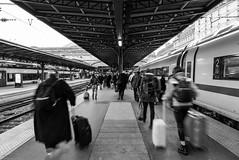 Arrival.... (Christophe Michler) Tags: paris gare train rail arrivée voyage nb bw