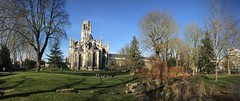 Park and Church Panorama in Rouen (roomman) Tags: 2019 france rouen old town medieval church cathedral holy building park