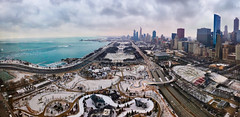 Wintertime in Chicago (Mauricio Mejía) Tags: museum marina america usa illinois lakeshoredrive lsd drive shore columbus institute art car street road pritzker gate millennium grant daley maggie rink park cold snow ice water michigan lake winter red blue sky cloud city skyline building chicago