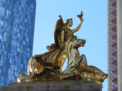 2019 Victory Statue USS Maine Monument - Gold Leaf Gilded 2308 (Brechtbug) Tags: uss maine monument 1913 beaux arts commemorate controversial sinking battleship 1898 the ship has sculpted representations mythological figures victory peace courage fortitude justice central park entrance nyc 02192019 new york city arms wrapping around rock statue sculpture february 2019 columbus circle