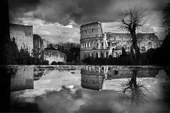 Colosseum in winter (Stefano Avolio) Tags: colosseum colosseo inverno winter bw bn savolio stefanoavolio blackandwhite blackwhite biancoenero bianconero roma rome clouds nuvole reflection riflesso