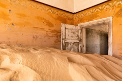 Inhabited Series | Open-door policy (James Kerwin Photographic) Tags: architecture artist british fineart history nomadic photographer travel kolmanskop namibia abandoned diamond doors paint sand sunrise difficult details photography africa german town decay