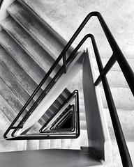 An Angled Approach (Packing-Light) Tags: iphone bw blackandwhite design interior architecture stairs triangle angles lines geometric monochrome