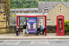 Sowerby Bridge 022 (Peter.Bartlett) Tags: women unitedkingdom people streetphotography standing boy peterbartlett girl candid uk poster microfourthirds woman westyorkshire sign urban m43 olympuspenf sowerbybridge england gb