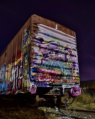 Overdone (slammerking) Tags: graffiti spraypaint railcar boxcar tagged longexposure night wichitakansas