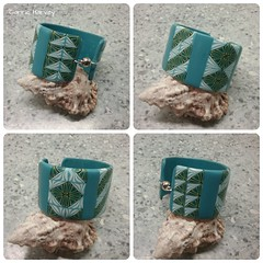 Cuff bracelet (Beads from the Coast) Tags: polymerclay soufflé premo cuff cuffbracelet cane canework repeatingpattern geometricpattern handmade renaissancewax twocolourcane