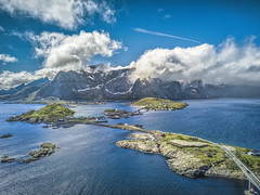 Aerial Hamnoy (Wim van de Meerendonk, loving nature) Tags: lofoten aerial djimavicpro norway hamnoy island islands blue bright color colors colours colour contrast clouds cloud cloudscape ice landscape mountain mountainscape monumental nature outdoors outdoor ocean oceaan panorama rock rocks sky sun scenic snow wimvandem water golddragon