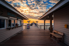Naples pier at sunset (dannygreyton) Tags: usa naples pier sunset beach canon canong1xiii florida ocean sea bench bridge