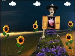 A woman in love (bdira3) Tags: surreal woman beautiful heart flowered dress sunflowers clouds kitschy