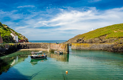 Porthgain Harbour, Pembrokeshire. (hemlockwood1) Tags: harbour sea walls industrial bricks slate boats fishing pembrokeshire wales coastal path fishermen history colin allen green blue sky