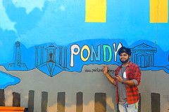 Wall painting and street art in Pondicherry (Nithi clicks) Tags: wall painting art french colony malebeauty background happy closeup person young adult people beauty model outdoor portrait smile male youth face man generation boy eyes fashion modern skin expression concept stylish smart lifestyle joyful asian clothes guy look alone attractive casual handsome posing asia macho confident complexion india fashionable ethnic indian