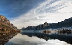Foschia (giannipiras555) Tags: landscape panorama paesaggio nebbia lago collina montagna riflessi natura inverno idro nikon alberi