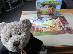 MODERN travel? I don't fink so! (pefkosmad) Tags: jigsaw puzzle hobby leisure pastime vintage cardboard used secondhand complete transport asnew malvernfleafair boystoys nostalgia timespast tedricstudmuffin teddy ted bear animal toy cute cuddly fluffy plush soft stuffed