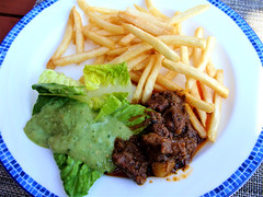Fries and Beef Stew (knightbefore_99) Tags: mexico mexican tropical huatulco oaxaca cool tangolunda delicious food dreams lunch fries salad stew green tasty chips french art