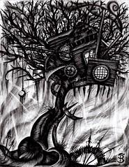 Black Noise (Skyler Brown Art) Tags: angst architecture art artwork bw blackwhite blackandwhite charcoal creepy dark darkness depressing dramatic drawing emo emotional goth gothic greyscale intense macabre paper pen sad surreal tree treehouse