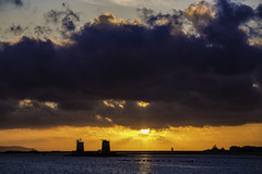 Sunset at salina (Pawel Wietecha) Tags: sunset salina trapani sicilia italy landscape clouds sun sky blue red yellow orange lake water windmill travel trip color light sicily mill