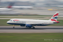 Panning British Airways A-320 (Matthisphotography) Tags: british airways london heathrow airport panning slow shutter speed airbus boeing airplane airliner airline airlines jet runway touchdown aircraft plane avion england english a320 sky nikon d5300 tamron 150600