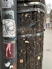 67/365 - Making sure it sticks (Ed Gloria) Tags: urban staples stickers decals northside city fliers graffiti