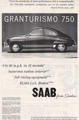 SAAB GranTurismo 750 (vasiliy.ivanoff) Tags: 1959 saabgranturismo750 saab turbo saabautomobileab svenskaaeroplanaktiebolaget sweden swedish vintage advertising advertisement commercial reclame print ads car cars svenskaaeroplanaktiebolagetlinköpingschweden svenskaaeroplanaktiebolagetthesaabaircraftcompanylinköpingsweden saabofsweden builtbyswedishleadingaircraftcompany thewellbuiltswede sturdystylishswedish swedishengineeringdependonit latechniquesuêdoiseonpeutsyfier theswedishcarwiththeaircraftquality thesuperswede beyondtheconventional peoplewhotestdriveasaabusuallybuyone oneoftheworldsfinercars amoreindividualcar thecommandperformancecar welcometothestateofindependence goswiftgosafegosaab youcandriveitlikeabigcar itsapityothercarsarentbuiltthisway asaabwillsurrenderitsownlifetosaveyours theonlycarintheworldmadebyajetaircraftmanufacturer saabtheaircraftcompanynothingonearthcomesclose itswhatacarshouldbe wedontmakecompromiseswemakesaabs themostintelligentcarseverbuilt aircraftinspired findyourownroad bornfromjets moveyourmind saabitsfeelingwhatarealcarallabout