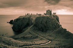 S T R O N G H O L D (Derek Coull) Tags: dunnottar castle aberdeenshire scotland fortress stronghold medieval clankeith earlmarischal 14thcentury 15thcentury 16thcentury honoursofscotland scottish jacobite defense towerhouse chapel palace crown sword sceptre whigs samsungnx500 longexposure landscape pathway sky duotone romantic