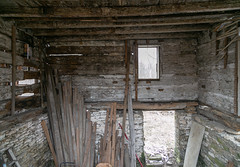 Interior, Log House — Salem Township, Warren County, Ohio (Pythaglio) Tags: house dwelling residence abandoned log doublepen 15story twobay steeplenotching logs exposed daubing notching exteriorchimney limestone stone ruined scheer morrow ohio salemtownship warrencounty interior whitewashed enclosed staircase corner
